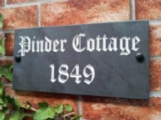 Engraved slate house sign – 300mm x 100mm; 11.8 inches x 4 inches
